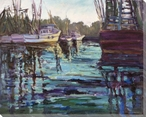 On the Creek Boats Wrapped Canvas Giclee Print Wall Art