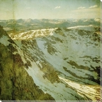 On Top Snowy Mountain Scene Wrapped Canvas Giclee Print Wall Art