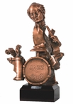 One Person Jazz Band Statue - Copper Finish