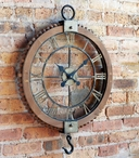 Open Old Fashioned Gear Metal Wall Clock with Hook