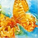 Orange Butterfly Wrapped Canvas Giclee Print Wall Art