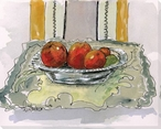 Oranges in a Silver Bowl Wrapped Canvas Giclee Print Wall Art