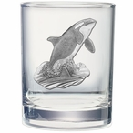 Orca Whale Pewter Accent Double Old Fashion Glasses, Set of 2