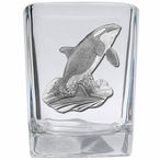 Orca Whale Pewter Accent Shot Glasses, Set of 4