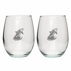 Orca Whale Pewter Accent Stemless Wine Glass Goblets, Set of 2