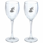 Orca Whale Pewter Accent Wine Glass Goblets, Set of 2