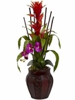 Orchid Color Bromeliad and Orchid Combo Silk Plant with Planter