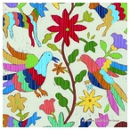 Otomi Embroidery Birds Absorbent Beverage Coasters, Set of 8