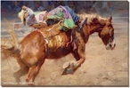 Out of the Gate Bucking Bronco Rider Wrapped Canvas Giclee Print