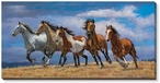 Over the Top Horses Panoramic Wrapped Canvas Giclee Print Wall Art