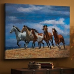 Over the Top Mustang Horses Wrapped Canvas Giclee Print Wall Art