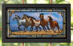 Over the Top Running Horses Stained Glass Wall Art