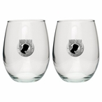 P.O.W. M.I.A Black Pewter Accent Stemless Wine Glass Goblets, Set of 2