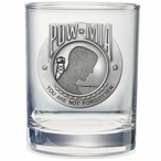 P.O.W. M.I.A Pewter Accent Double Old Fashion Glasses, Set of 2