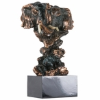 Pair Elephant Bust Statue - Dark Copper Finish
