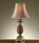 Palm Coast Pineapple Table Lamp with Wheat Fabric Shade