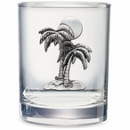 Palm Tree Pewter Accent Double Old Fashion Glasses, Set of 2
