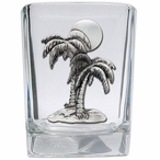 Palm Tree Pewter Accent Shot Glasses, Set of 4