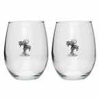 Palm Tree Pewter Accent Stemless Wine Glass Goblets, Set of 2