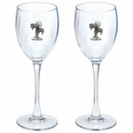 Palm Tree Pewter Accent Wine Glass Goblets, Set of 2
