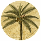Palm Tree Round Beverage Coasters by Philippa Collection, Set of 12