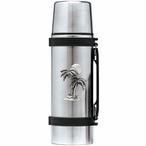 Palm Tree Stainless Steel Thermos with Pewter Accent