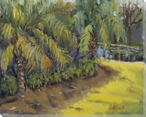Palms by the Pond Wrapped Canvas Giclee Print Wall Art