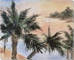 Palms Flying Crane Wrapped Canvas Giclee Print Wall Art