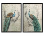 Panache Peacock Birds Framed Canvas Wall Art, Set of 2
