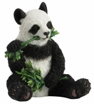 Panda Sitting and Eating Bamboo Sculpture