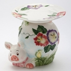 Pansy Flower Pig Pillar Candle Holder