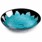 Paradiso Wings Turquoise/Black Color Crystal Bowl by Mats Jonasson