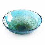 Paradiso Wings Turquoise Color Crystal Bowl by Mats Jonasson