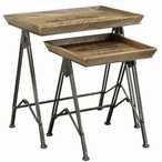 Paris Voyager Metal and Wood Nesting Tables, Set of 2