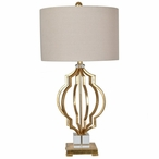 Parisian Metal and Crystal Table Lamp with Oatmeal Linen Shade
