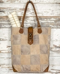 Patchwork Canvas and Leather Upright Tote Bag