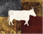 Patchwork Steer Wrapped Canvas Giclee Print Wall Art