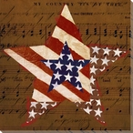 Patriotic USA Star Wrapped Canvas Giclee Print Wall Art