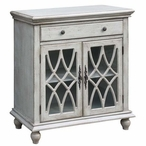 Paxton 1 Drawer with 2 Geometric Glass Doors Wood Cabinet