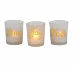 Peace Joy Noel Frosted Glass Tea Light Candle Holders, Set of 12