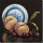 Peaches and Cherries Around a Plate Wrapped Canvas Giclee Print