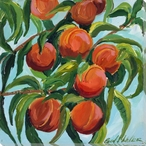 Peaches on the Tree Wrapped Canvas Giclee Print Wall Art