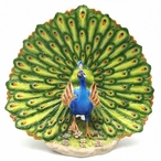 Peacock Bird with Tail Fanned Out Sculpture