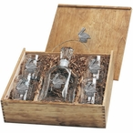 Pelican Bird Capitol Decanter & DOF Glasses Box Set w/ Pewter Accents