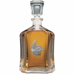 Pelican Bird Capitol Glass Decanter with Pewter Accents