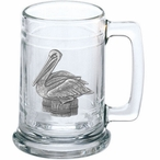 Pelican Bird Glass Beer Mug with Pewter Accent
