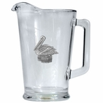 Pelican Bird Glass Pitcher with Pewter Accent