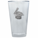 Pelican Bird Pint Beer Glasses with Pewter Accent, Set of 2