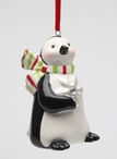 Penguin w/ Snowflake and Color Scarf Christmas Tree Ornament, Set of 4