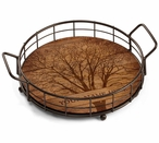 Personalized Among Trees Metal and Wood Serving Trays, Set of 2